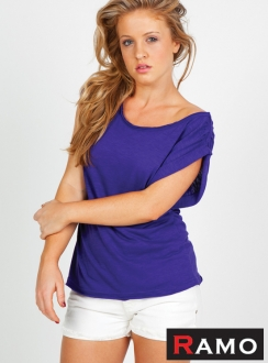 Ladies Raw Cotton Wave Wide Neck Tee