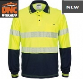 3518 HiVis Segment Taped Cotton Back Polo LS