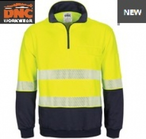 3529 HiVis Segment Taped 1/2 Zip Fleecy Windcheater