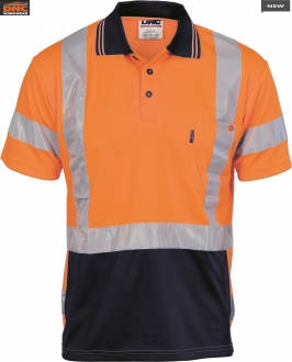 3712 HiVis D/N Breathe Polo Shirt tape on back SS