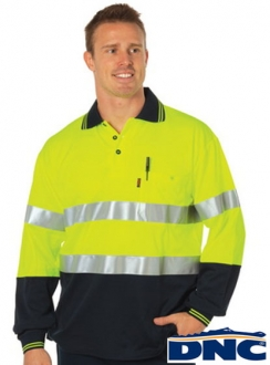 3718 Cotton Back HiVis Polo L/S with R/Tape