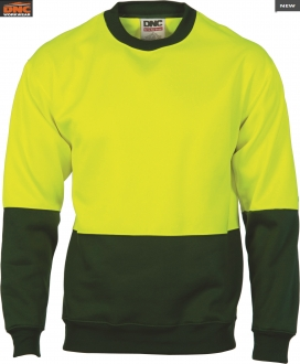 3821 HiVis 2 Tone Fleecy Sweat Shirt Crew Neck
