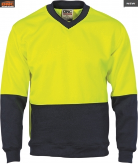 3822 HiVis 2 Tone Fleecy Sweat Shirt V Neck