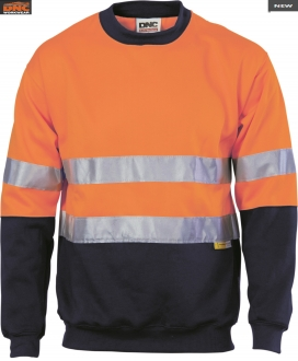 3824 HiVis 2 tone fleecy sweat shirt w/tape LS