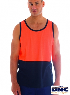3841 DNC Cotton Back HiVis Singlet
