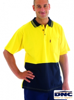 3845 HiVis Cool-Breeze Cotton Jersey L/S Polo