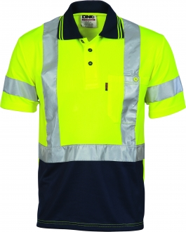 3912L HiVis D/N Cool Breathe Polo Shirt with tape SS Larger