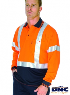 3914 HiVis D/N L/S Polo Shirt with Cross Back