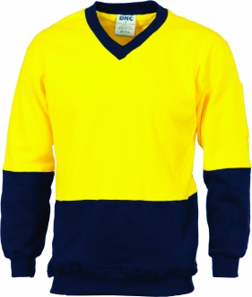 3922L HiVis Two Tone Cotton Fleecy Sweat Shirt V Neck