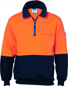 3923L HiVis 2 Toned 1/2 Zip Cotton Fleecy W/Cheater