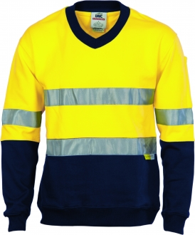 3924L HiVis 2 Tone Cotton Fleecy Sweat Shirt W/Tape LS