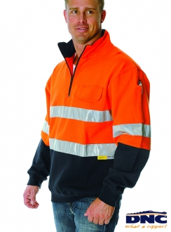 3925 HiVis Half Zip Cotton Fleecy 3M Wincheater