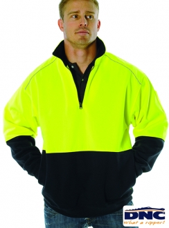 3928 HiVis Half Zip Refl. Piping  Fleecy Sweater