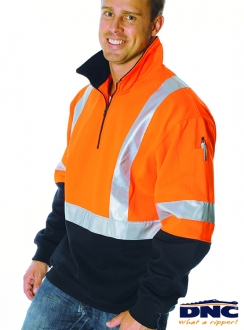 DNC HiVis D/N Half Zip Fleecy Reflective Sweater Shirt