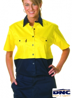 DNC 155gsm Ladies HiVis S/S Two Tone Cool-Breeze Cotton Drill Shirt