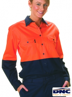DNC Ladies HiVis Cool-Breeze Drill L/S Shirt