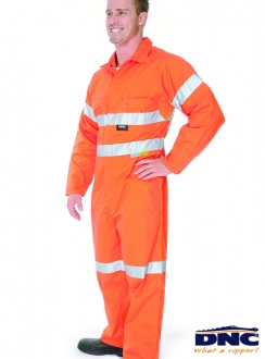 DNC HiVis Cool-Breeze Cotton Coverall with Cross Back 3M R/Tape