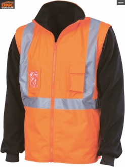 3990 HiVis 4in1 Zip Off Sleeve Reversible Vest Tape
