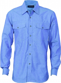 4104 Mens Twin Flap Pocket Cotton Chambray LS