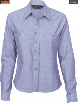 4106 Ladies Cotton Chambray Shirt LS