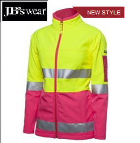 6D4J1 Ladies HiVis Softshell Jacket D/N