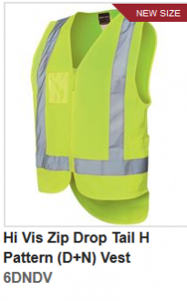 6DNDV Hi Vis Zip Drop Tail H Pattern Vest