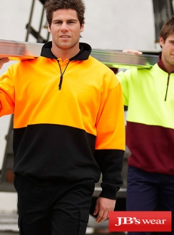 JBs HiVis Half Zip Fleecy Jumper