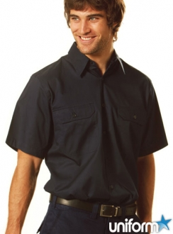 AIW Cotton Drill S/S Work Shirt - large sizes