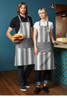 BA75 Salt N Pepper Chambray Stripe Bib Apron