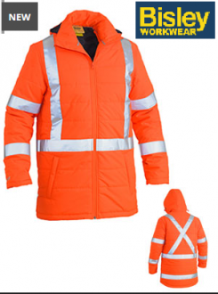 BJ6379XT Hi Vis Puffer Jacket With X Back Taped