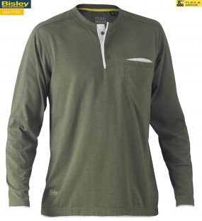 BK6932 Flex & Move™ Cotton Rich Henley Long Sleeve Tee
