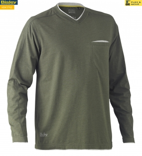 BK6933 Flex & Move™ Cotton Rich V Neck Long Sleeve Tee