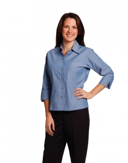 BS04 Wrinkle Free 3/4 Chambray Shirt Ladies
