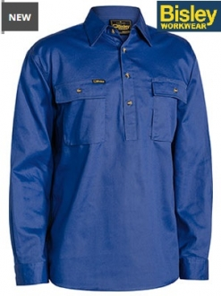 BSC6433 Closed front Cotton Drill Shirt LS
