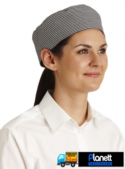 CHEFS CAP WITH PONYTAIL OPENING - CHECK