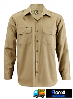 COTTON DRILL LONG SLEEVE SHIRT