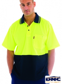 3814 Cotton Back HiVis Polo