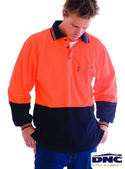3816 Cotton Back HiVis L/S Polo