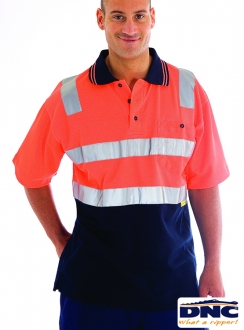 3817 Cotton Back HiVis Polo with 3M R/Tape