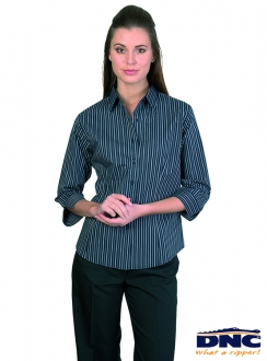 DNC Cotton Rich Ladies Stretch Yarn Dyed Contrast Stripe Sleeve Shirts