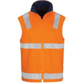 3765 DNC HiVis Cotton Drill Reversible Vest with Generic R/Tape