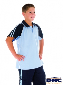 DNC Kids Cool-Breathe Twin Stripe Contrast Raglan Polo