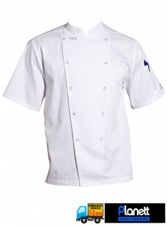 EXECUTIVE CHEFS SHORT SLEEVE JACKET WITH PEN POCKET AND PRESS STUDS