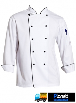 EXECUTIVE LONG SLEEVE CHEF JACKET WITH POCKETS AND PIPING