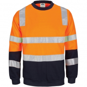 HIVIS 2 tone, crew-neck fleecy sweat shirt with shoulders, double hoop body and arms CSR R/Tape.