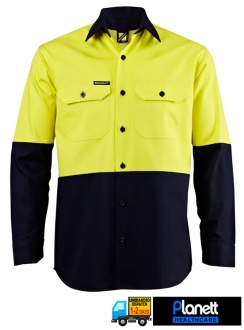 HI-VIS HEAVY WEIGHT TWO TONE LONG SLEEVE SHIRT