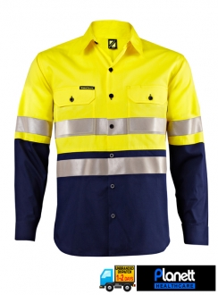 HI-VIS TWO TONE LONG SLEEVE SHIRT WITH 3M 9920 REFLECTIVE TAPE