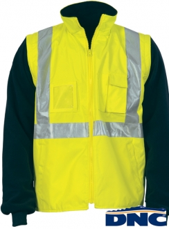 "3994 HiVis Cross Back D/N ""4 in 1"" Zip Off Sleeve Reversible Vest"
