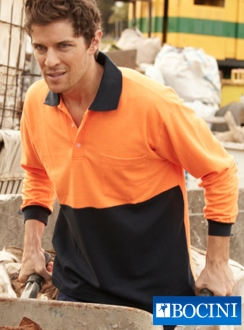 HiVis Poly/Cotton Polo -Long Sleeve
