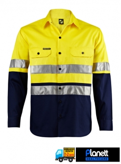 Hi-Vis Two Tone Long Sleeve Shirt with 3M Reflective Tape